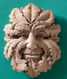 Hand Cast Stone Green Man Plaque - Gothic Woodland Spirits Mythical Gargoyle Face Sculpture by Creative Structures. Outdoor Wall Art, Outdoor Walls, Wall Sculptures, Lion Sculpture, Garden Sculptures, Garden Plaques, Cast Stone, Green Man, Wall Plaques