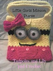 Crochet Purses Patterns Little Girls Minion Inspired Purse - This fast bag is sure to please any little girl in your life. It is approximately 8 inches finished so there is plenty of room for her to put those special items in there for safe keeping Crochet Girls, Crochet Baby, Free Crochet, Knit Crochet, Minion Bag, Girl Minion, Crochet Handbags, Crochet Purses, Crochet Crafts