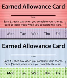 Earned Allowance Cards -- great idea to motivate your kids to do their chores