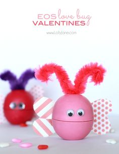 ADORABLE lip balm EOS Valentine LOVE BUGS! Free tag included! So adorable!