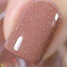'Hallowed Ground Hang-out' features a nude holo microglitter mix in a warm mocha crelly base! Bottles are Each bottle contains 2 large. Sns Nails, Nude Nails, Toenails, Acrylic Nails, Nail Polish Colors, Gel Nail Polish, Nagellack Design, Vacation Nails, Sparkle Nails