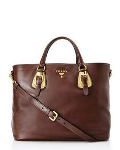 "PRADA 15"" Brown Leather Buckle Satchel"