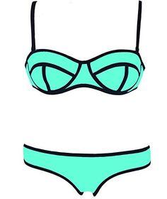 FeelinGirl Women's Two Pieces Push Up Polyester Bikini Swimwear * CONTINUE @ http://lingerie4everyone.com/store2/feelingirl-womens-two-pieces-push-up-polyester-bikini-swimwear/?b=9453