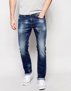 Image 1 of Diesel Jeans Thavar 848C Slim Fit Stretch Light Wash Distressed