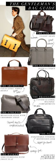 Klury.coms Menswear Monday: The Gentleman Bag Guide
