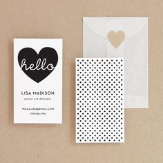 Great way to have a cute business card in only black and white, but still cute.