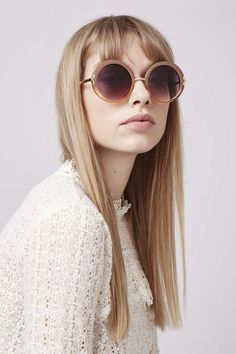 Throw it back to '60s cool in these round sunglasses, featuring an ombre lense in a warm honey colour. #Topshop