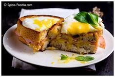 Croque Madame; sandwich; Paris; French; bread; egg; cheese; ham; gouda; recipe; fast; dinner; lunch; brunch;