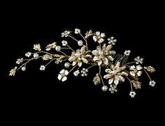 Elegant Floral Pearl Vine Hair Comb 7096 Gold