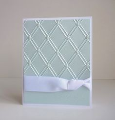 Scored lattice with small pearls  Embossed Sentiment on bottom - For Your Wedding Day.