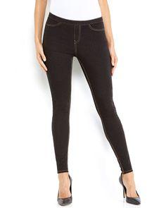 HUE U13316 Original Denim Leggings in Black with Contrast Stitching, Size Medium