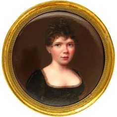 Antique 19thc Kiln-Fired Enamel Miniature Portrait Painting, Lady in a Black Dress from The Antique Boutique on Ruby Lane