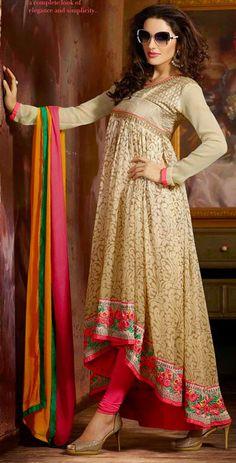 USD 44.13 Beige Chiffon Designer Salwar Kameez 42947