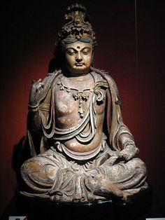 collective-history:    A Chinese wooden Bodhisattva, Jin Dynasty (1115-1234 AD), Shanghai Museum.