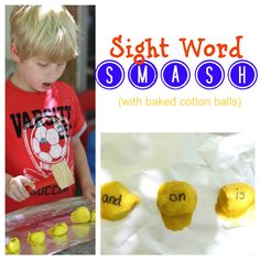 Sight Word Smash - with baked cotton balls.  Love this for the active crowd!