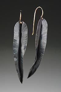 Long Leaf Earring: Peg Fetter: Silver Earrings | Artful Home $180.00