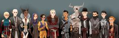 Sera, Solas, Vivienne, Leliana, Josephine, Cullen, Dorian, Iron Bull, Cole, Blackwall, Cassandra, and Varric from Dragon Age: Inquisition! (Had to stick Dorian, the Iron Bull, and Cole together as ...