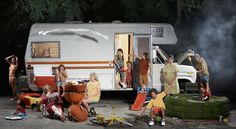photo composite by Ryan Schude, of a family camping in a Winnebago