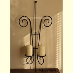 Wrought iron candle holder, Price: 18.97Euro Handmade. Dimensions: 60x25x9 sm. Weight: 0.10kg.  Shop online at: www.alwayservice.eu Wrought Iron Candle Holders, Candle Sconces, Wall Lights, Candles, Shop, Handmade, Home Decor, Iron, Self
