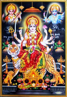 Durga Bhawani Devi with Saraswati and Kali Durga Images, Lord Krishna Images, Durga Ji, Vaishno Devi, Kali Ma, Mother India, Hindu Deities, Hinduism, Goddess Lakshmi