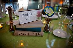Table number on book paper. Simple. Cheap. Just my type.
