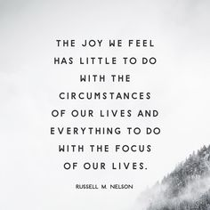 """""""When the focus of our lives is on #JesusChrist, we can feel joy regardless of what is happening—or not happening—in our lives. Joy comes from and because of Him. He is the source of all joy. Joy is powerful, and focusing on joy brings God's power into our lives."""" From #PresNelson's pinterest.com/pin/24066179230963800 inspiring #LDSconf facebook.com/223271487682878 message lds.org/general-conference/2016/10/joy-and-spiritual-survival. Learn more facebook.com/LordJesusChristpage…"""