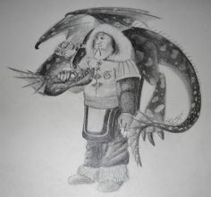 """""""Pet Me."""" Graphite on drawing paper. How to Train your Dragon 2 doodle fanart of 'Patch' (one of Eret's crew) and Morph (hobblegrunt OC) by Julia DeStefano."""