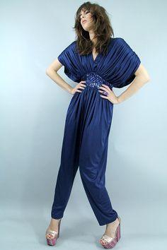 Vintage 70s DISCO GRECIAN Jumpsuit Blue Sequin by TatiTatiVintage, $178.00
