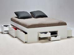 Wit bed met laden en nachtkastjes met schuifdeuren DENZO