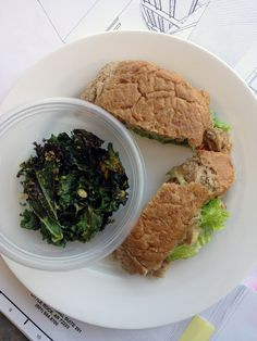 awesome vegan lunch, tempeh sandwich and kale chips!