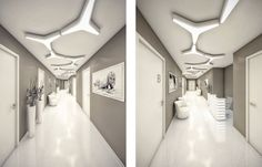 Extra Modern White Surgery Clinic Interior Design: Grey Wall And White Doors For Hallway