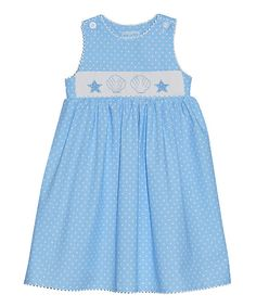 Love this Vive La Fête Light Blue Polka Dot Seashell Button Dress - Toddler & Girls by Vive La Fête on #zulily! #zulilyfinds