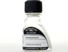 W&N Penseel Reiniger  Brush Cleaner  Met water vermengbaar oplosmiddel om olie- acryl   en alkydverf van de penselen te verwijderen. Een   nacht laten weken en zo nodig wrijven.   Uitspoelen met water  Leverbaar in 75, 250 en 500 ml.