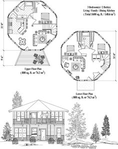 Two-Story Collection TS-0309 (1600 sq. ft.) 3 Bedrooms, 2 Baths