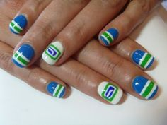 Cute softer colors for Canuck nails