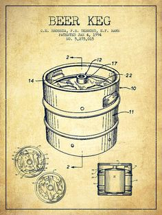 Beer Keg Patent Drawing - Vintage Poster by Aged Pixel. All posters are professionally printed, packaged, and shipped within 3 - 4 business days. Canvas Artwork, Canvas Art Prints, Beer Images, Blueprint Art, Beer Keg, Pabst Blue Ribbon, Beer Poster, Industrial Design Sketch, Patent Drawing