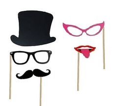 "•► MADE FROM DURABLE QUALITY CARD STOCK- with the highest quality card stock paper, these 36 photo booth props are thick & durable and made to withstand the fun and excitement on your special day! •► GENEROUS SIZING- sizing ranging from about 4"" to 8"" makes these photo booth props"