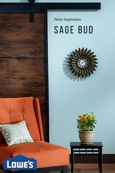 This cool and calming Valspar paint palette of blue, burnt orange and natural wood tones feels fresh as an ocean breeze.