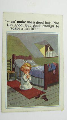 1925-Inter-Art-Donald-McGill-Comic-Postcard-No-4859-Little-Boy-Praying