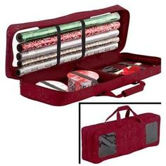 Classic Accessories Classic Accessories Seasons Carrying Case (Duffel) for Wrapping Paper - Cranberry - Fabric - Debossed Pattern