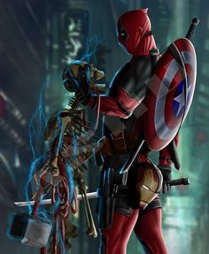 Deadpool is the true OP Who wants him in the avengers storylines? Guardians with Thor would be cool! Marvel Dc Comics, Marvel Avengers, Marvel Wolverine, Marvel Art, Marvel Heroes, Marvel Characters, Deadpool Pikachu, Deadpool Art, Deadpool Wallpaper