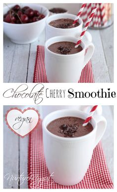 Chocolate Cherry Smoothie. Vegan, gluten free, Paleo. Takes 5 minutes to make. Ingredients: 2 cups unsweetened almond milk, 2 cups frozen dark sweet cherries (10 ounce bag), 1 ripe banana, 2 Tablespoons raw cacao nibs, 2 ice cubes, ½ teaspoon vanilla extract, (optional 1 teaspoon cacao nibs for topping) INSTRUCTIONS Add first six ingredients to blender. Blend until smooth and creamy. Divide among 2 mugs or glasses and top each glass with ½ teaspoon of cacao nibs. Enjoy!