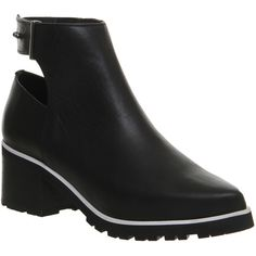 Office Facade Open Back Cleated Boots ($55) ❤ liked on Polyvore featuring shoes, boots, ankle booties, ankle boots, black leather, women, black buckle boots, leather bootie, leather booties and black bootie