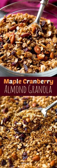 Easy crunchy homemade maple granola with coconut oil, dried cranberries, almonds, and lots of delicious cinnamon spice! Healthy recipe on sallysbakingaddiction.com