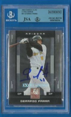 GERARDO PARRA Signed 2008 Donruss Elite Extra RC JSA BGS Diamondbacks Autographed by Signed Trading Card. $29.99. Up for sale is an Arizona Diamondbacks great Gerardo Parra autographed 2008 Donruss Elite Extra ROOKIE card #37. Slabbed by Beckett and authenticated by JSA. Nice Gerardo Parra blue sharpie signature on a nice key rookie card.