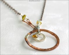 Sterling Silver & Copper Ring Necklace With Amber Crystal Stone - Jewelry by Jason Stroud.