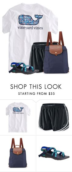 """Going to Starbucks for breakfast☕️"" by flroasburn ❤ liked on Polyvore featuring NIKE, Longchamp and Chaco"