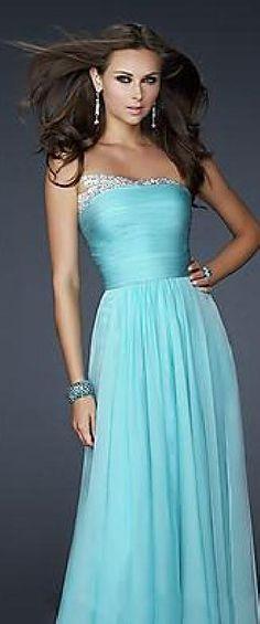 Embellished Empire Light Sky Blue Long Strapless Chiffon Evening Dress Sale klkdresses15485tyt #longdress #promdress