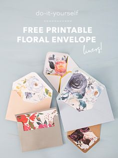 These Free Printable Floral Envelope Liners Are Gorgeous! DIY envelope liners for your bridal shower, wedding, or party invitations. Invitation Card Design, Diy Invitations, Free Printable Wedding Invitations, Floral Wedding Invitations, Wedding Stationery, Tarjetas Diy, Envelope Art, Diy Envelope Liners, Envelope Templates