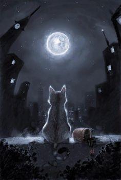 Tonight and Friday, let's do MOON ART. Art And Illustration, Fantasy Kunst, Fantasy Art, I Love Cats, Crazy Cats, Beautiful Moon, Beautiful Things, Warrior Cats, Moon Art